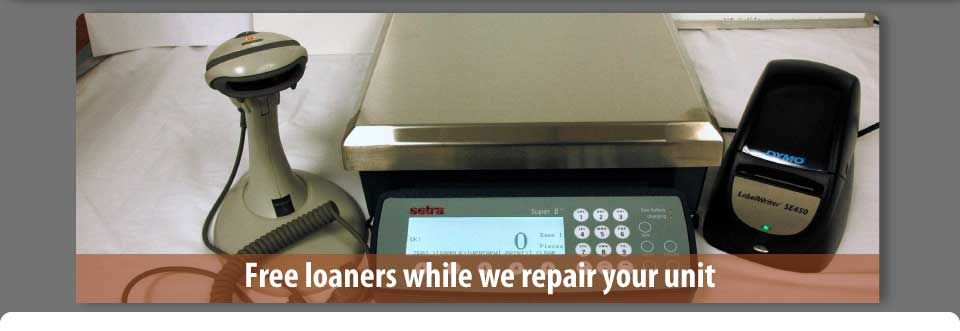 scales with scanner - free loaners while we repair your unit